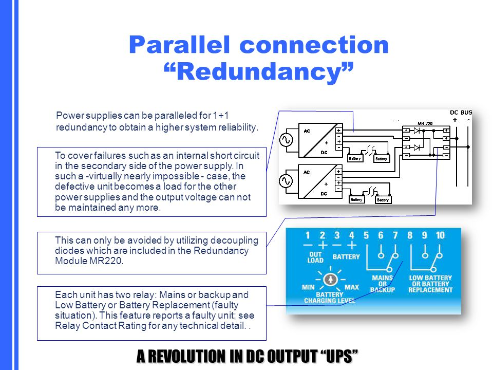 """A REVOLUTION IN DC OUTPUT """"UPS"""" Parallel connection """"Redundancy"""" Power supplies can be paralleled for 1+1 redundancy to obtain a higher system reliabi"""