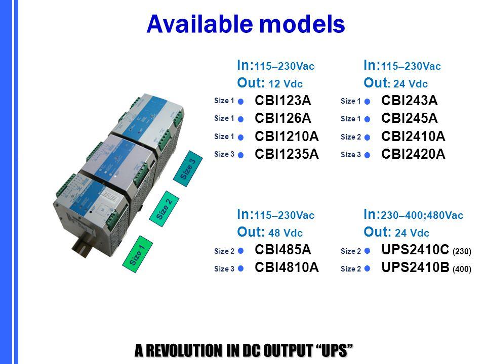 "A REVOLUTION IN DC OUTPUT ""UPS"" Size 1 Size 2 Size 3 In: 115–230Vac Out: 12 Vdc CBI123A CBI126A CBI1210A CBI1235A In: 115–230Vac Out : 24 Vdc CBI243A"
