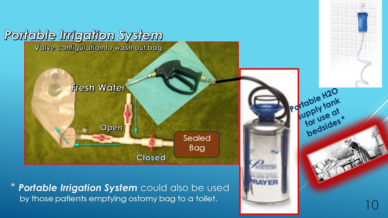 Portable H2O supply tank for use at for use at bedsides * Open * Portable Irrigation System could also be used by those patients emptying ostomy bag to a toilet.