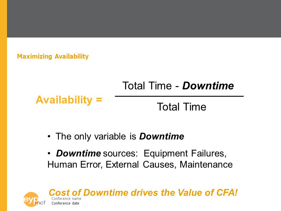 Conference name Conference date Maximizing Availability Availability = Total Time - Downtime Total Time The only variable is Downtime Downtime sources: Equipment Failures, Human Error, External Causes, Maintenance Cost of Downtime drives the Value of CFA!