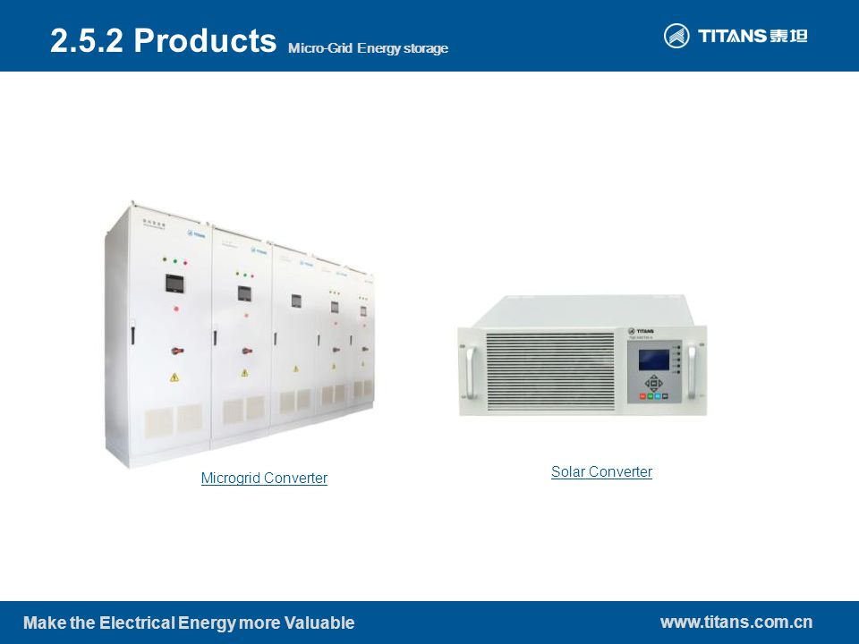 www.titans.com.cn Make the Electrical Energy more Valuable Microgrid Converter Solar Converter 2.5.2 Products Micro-Grid Energy storage
