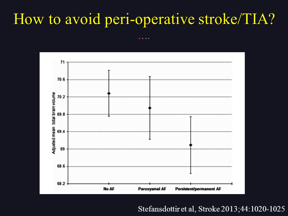 How to avoid peri-operative stroke/TIA …. Stefansdottir et al, Stroke 2013;44:1020-1025