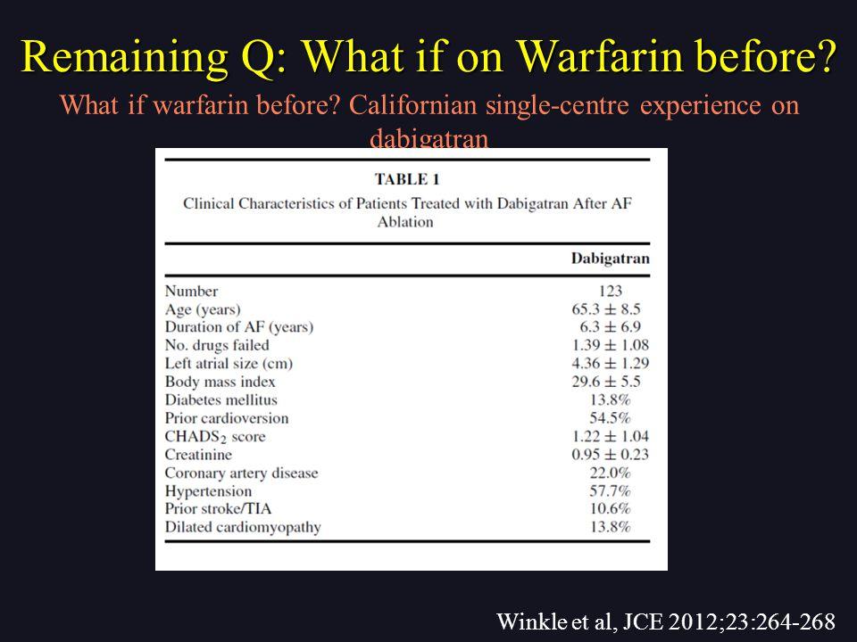 Winkle et al, JCE 2012;23:264-268 What if warfarin before.