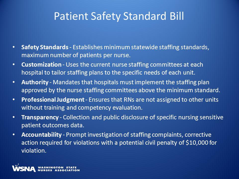 Safety Standards - Establishes minimum statewide staffing standards, maximum number of patients per nurse.