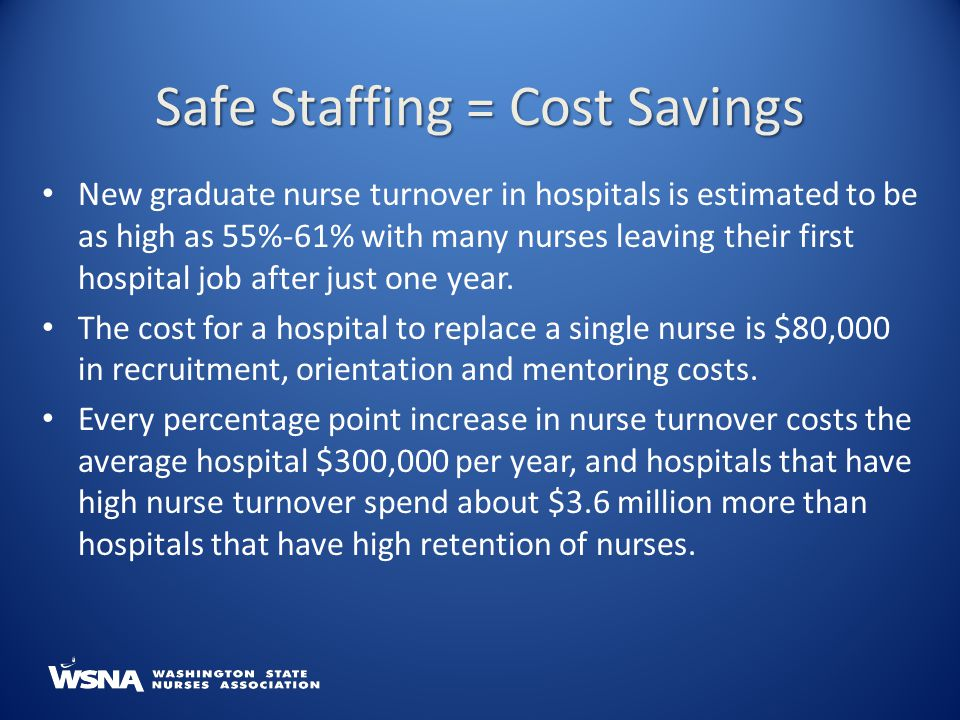 New graduate nurse turnover in hospitals is estimated to be as high as 55%-61% with many nurses leaving their first hospital job after just one year.