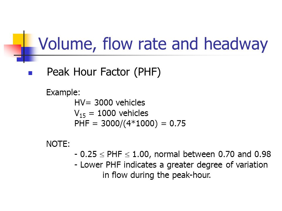 Volume, flow rate and headway Peak Hour Factor (PHF) Example: HV= 3000 vehicles V 15 = 1000 vehicles PHF = 3000/(4*1000) = 0.75 NOTE: - 0.25  PHF  1.00, normal between 0.70 and 0.98 - Lower PHF indicates a greater degree of variation in flow during the peak-hour.