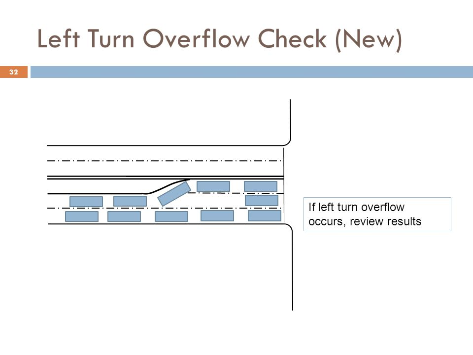 Left Turn Overflow Check (New) 32 If left turn overflow occurs, review results