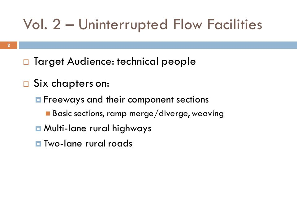 Freeway Facility Analysis 19  Modifications to reflect changes in other chapters  New software implementation (FREEVAL)  Updated capacity information for:  Work Zones  Weather (rain, snow, wind, visibility)  Incidents