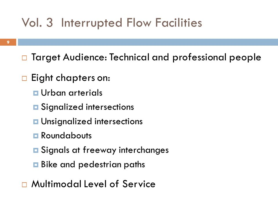 Vol. 3 Interrupted Flow Facilities  Target Audience: Technical and professional people  Eight chapters on:  Urban arterials  Signalized intersecti