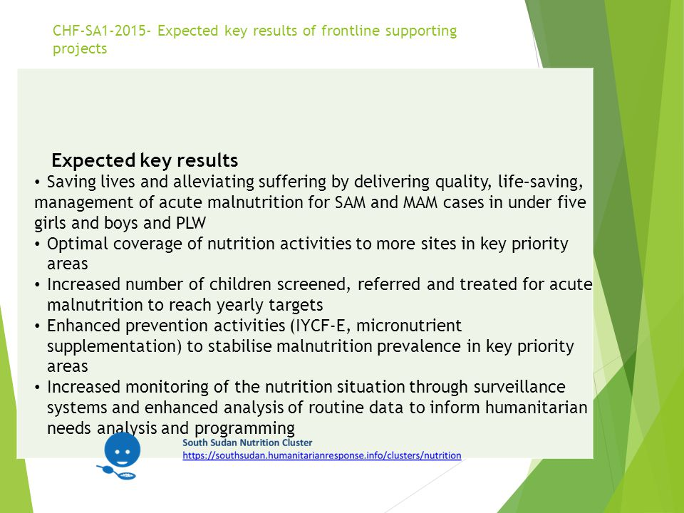 CHF-SA1-2015- Expected key results of frontline supporting projects Expected key results Saving lives and alleviating suffering by delivering quality,
