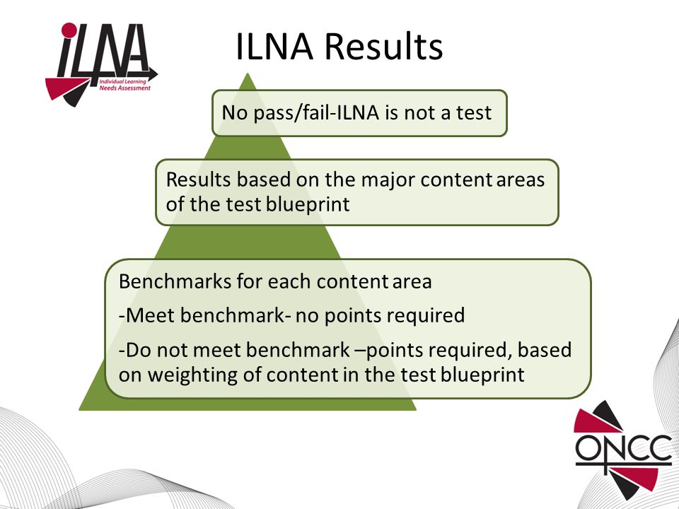 ILNA Results No pass/fail-ILNA is not a test Results based on the major content areas of the test blueprint Benchmarks for each content area -Meet benchmark- no points required -Do not meet benchmark –points required, based on weighting of content in the test blueprint