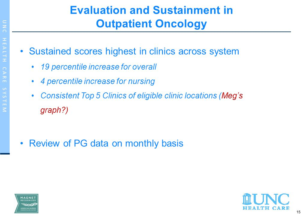 15 U N C H E A L T H C A R E S Y S T E M Evaluation and Sustainment in Outpatient Oncology Sustained scores highest in clinics across system 19 percentile increase for overall 4 percentile increase for nursing Consistent Top 5 Clinics of eligible clinic locations (Meg's graph ) Review of PG data on monthly basis