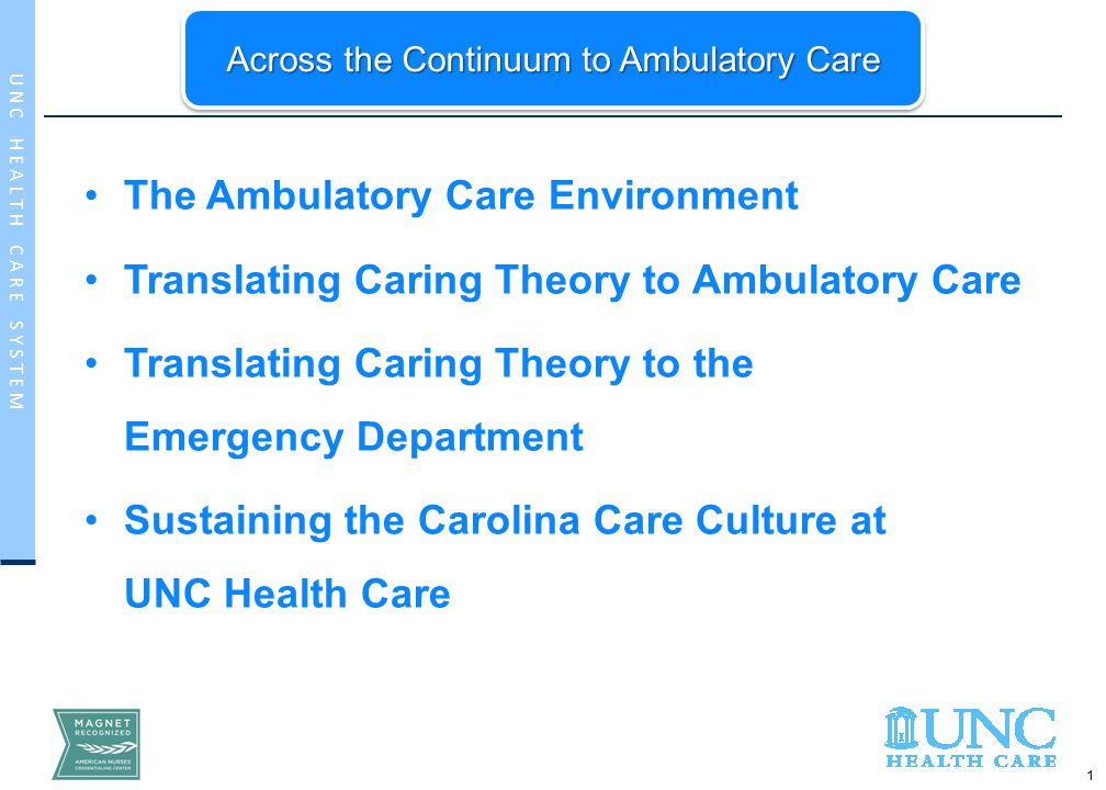 1 U N C H E A L T H C A R E S Y S T E M The Ambulatory Care Environment Translating Caring Theory to Ambulatory Care Translating Caring Theory to the Emergency Department Sustaining the Carolina Care Culture at UNC Health Care Across the Continuum to Ambulatory Care