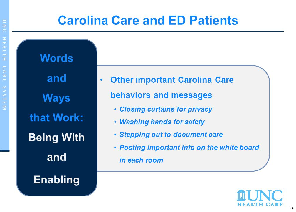 24 U N C H E A L T H C A R E S Y S T E M Other important Carolina Care behaviors and messages Closing curtains for privacy Washing hands for safety Stepping out to document care Posting important info on the white board in each room Words and Ways that Work: Being With and Enabling Carolina Care and ED Patients