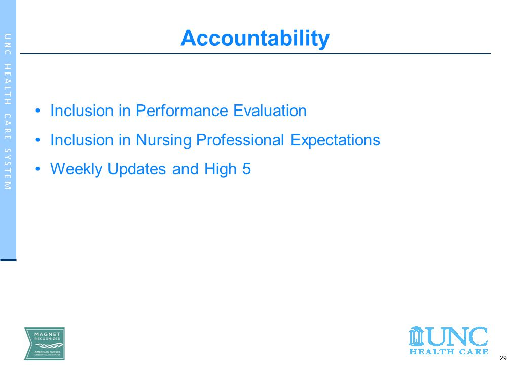 29 U N C H E A L T H C A R E S Y S T E M Inclusion in Performance Evaluation Inclusion in Nursing Professional Expectations Weekly Updates and High 5 Accountability