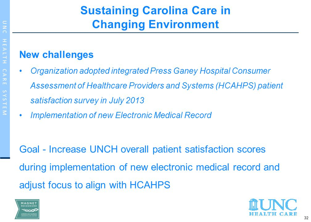 32 U N C H E A L T H C A R E S Y S T E M Sustaining Carolina Care in Changing Environment New challenges Organization adopted integrated Press Ganey Hospital Consumer Assessment of Healthcare Providers and Systems (HCAHPS) patient satisfaction survey in July 2013 Implementation of new Electronic Medical Record Goal - Increase UNCH overall patient satisfaction scores during implementation of new electronic medical record and adjust focus to align with HCAHPS