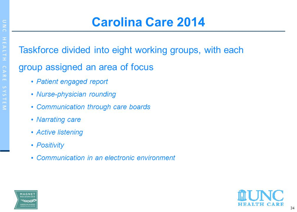 34 U N C H E A L T H C A R E S Y S T E M Carolina Care 2014 Taskforce divided into eight working groups, with each group assigned an area of focus Patient engaged report Nurse-physician rounding Communication through care boards Narrating care Active listening Positivity Communication in an electronic environment