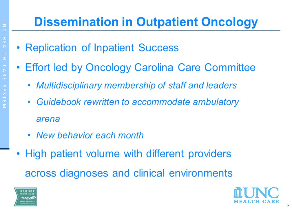 16 U N C H E A L T H C A R E S Y S T E M Evaluation and Sustainment in Outpatient Oncology Coordination of improvement efforts with Oncology Operations Team Participation of Oncology leadership in organization wide CCIOC Repeat of roll out 2 years post initial implementation
