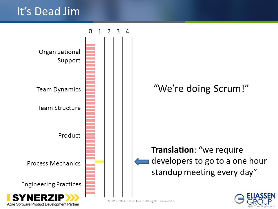 © 2012-2014 Eliassen Group. All Rights Reserved -13- Click to edit Master title style It's Dead Jim Team Dynamics Product Engineering Practices Proces