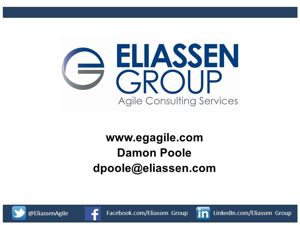www.synerzip.com Confidential 3284 www.egagile.com Damon Poole dpoole@eliassen.com @EliassenAgile Facebook.com/Eliassen GroupLinkedIn.com/Eliassen Gro
