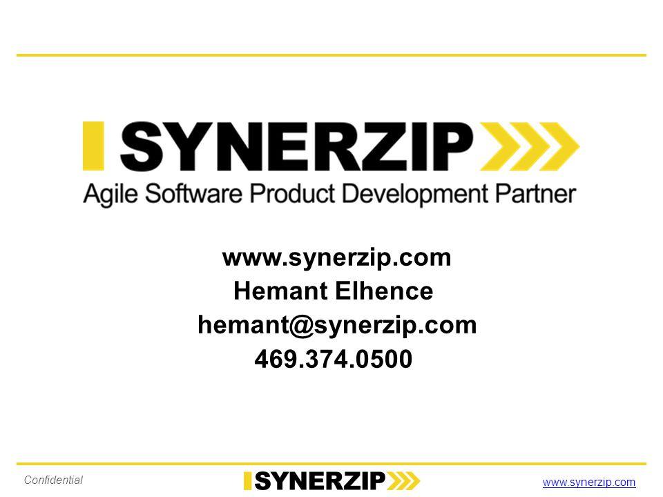 www.synerzip.com Confidential 3384 www.synerzip.com Hemant Elhence hemant@synerzip.com 469.374.0500