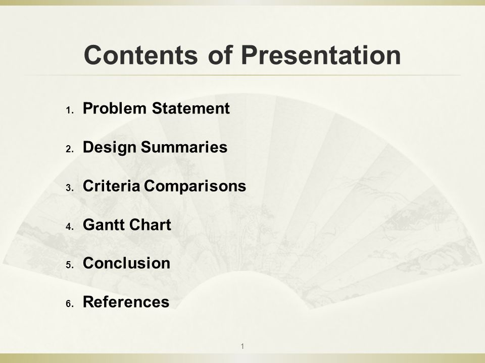 Contents of Presentation 1 1. Problem Statement 2.