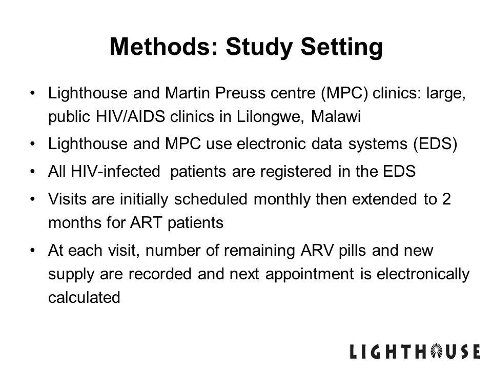 Methods: Study Setting Lighthouse and Martin Preuss centre (MPC) clinics: large, public HIV/AIDS clinics in Lilongwe, Malawi Lighthouse and MPC use el