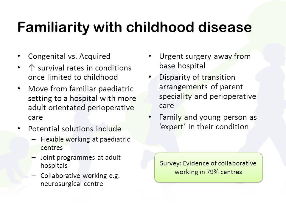 Familiarity with childhood disease Congenital vs.