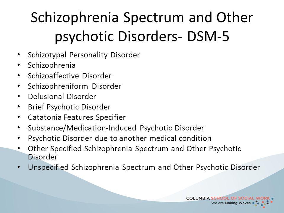 Schizophrenia- DSM 5 Must have 2 Criterion A symptoms :delusions, hallucinations, or disorganized speech (positive symptoms).