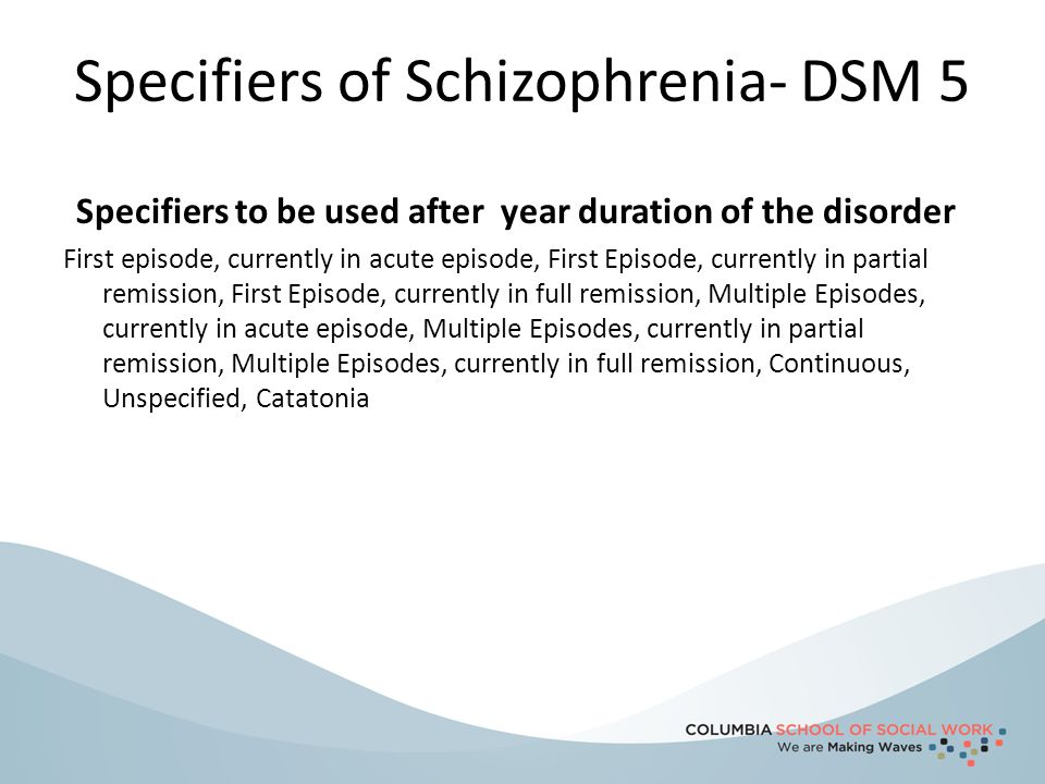 Specifiers of Schizophrenia- DSM 5 Specifiers to be used after year duration of the disorder First episode, currently in acute episode, First Episode,
