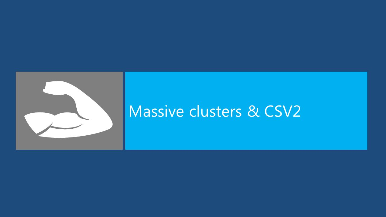 Windows Server 2012 supports an industry best 4,000 VMs per cluster and can now massively scale out to 64 nodes in a cluster...