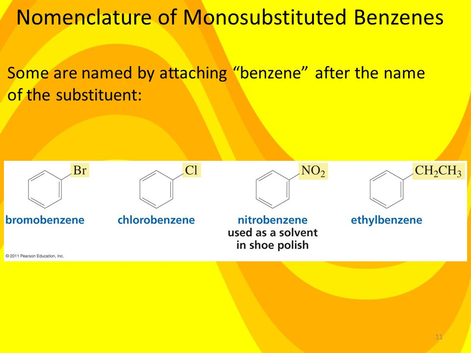 11 Nomenclature of Monosubstituted Benzenes Some are named by attaching benzene after the name of the substituent: