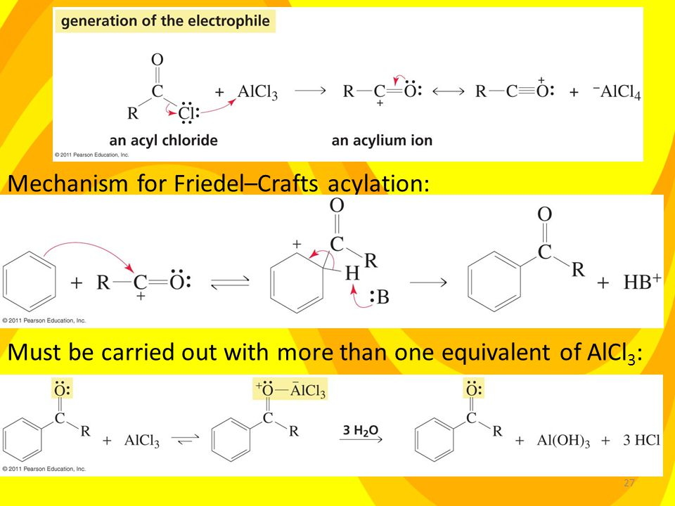 27 Mechanism for Friedel–Crafts acylation: Must be carried out with more than one equivalent of AlCl 3 :