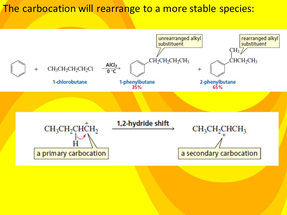 The carbocation will rearrange to a more stable species: