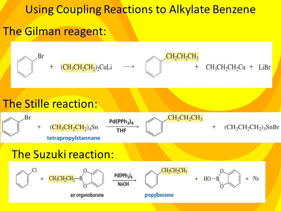 Using Coupling Reactions to Alkylate Benzene The Gilman reagent: The Stille reaction: The Suzuki reaction: