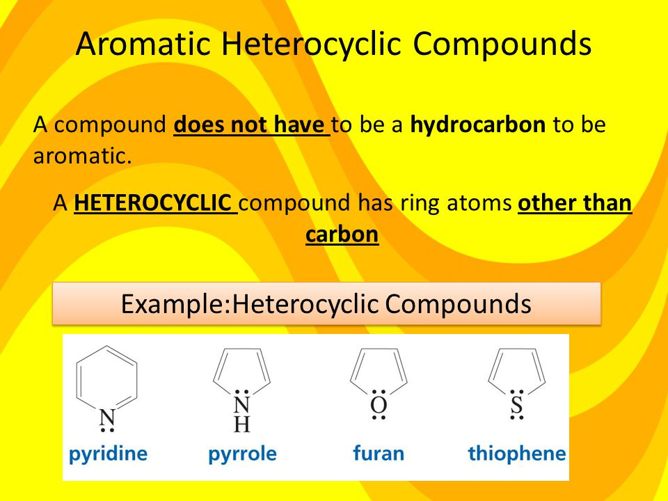 Aromatic Heterocyclic Compounds A HETEROCYCLIC compound has ring atoms other than carbon A compound does not have to be a hydrocarbon to be aromatic.