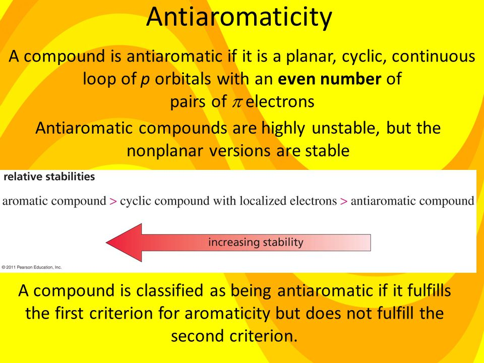 Antiaromaticity Antiaromatic compounds are highly unstable, but the nonplanar versions are stable A compound is classified as being antiaromatic if it fulfills the first criterion for aromaticity but does not fulfill the second criterion.