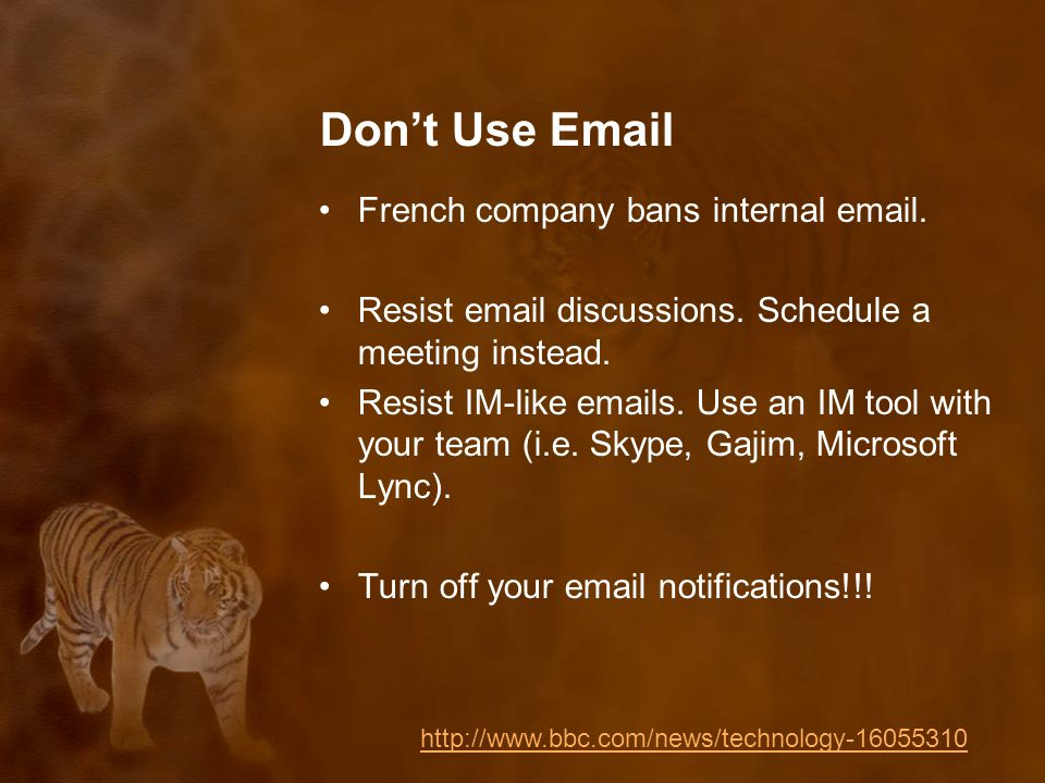 Don't Use Email French company bans internal email.