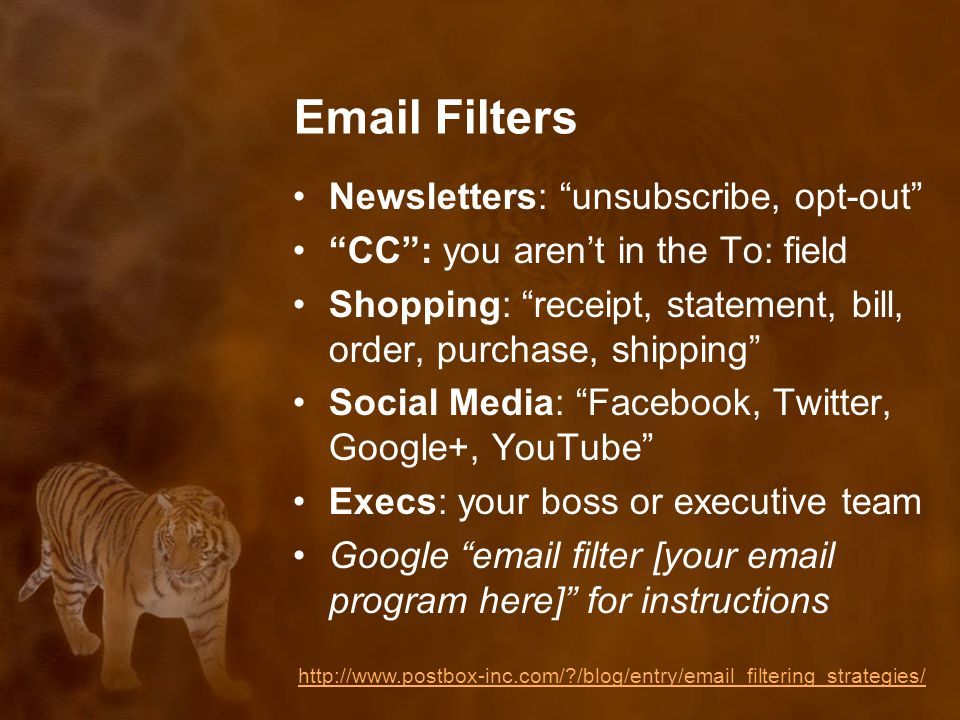 Email Filters Newsletters: unsubscribe, opt-out CC : you aren't in the To: field Shopping: receipt, statement, bill, order, purchase, shipping Social Media: Facebook, Twitter, Google+, YouTube Execs: your boss or executive team Google email filter [your email program here] for instructions http://www.postbox-inc.com/ /blog/entry/email_filtering_strategies/