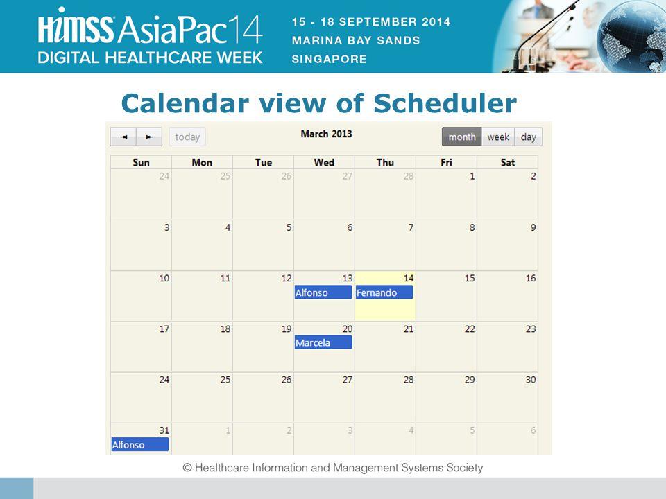 Calendar view of Scheduler