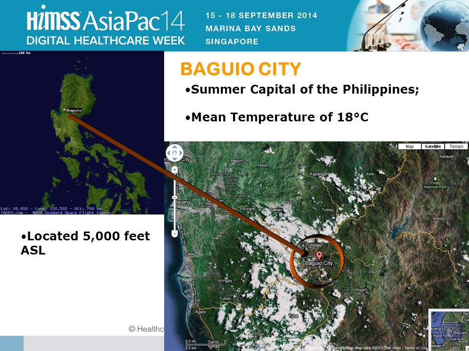 BAGUIO CITY Located 5,000 feet ASL Summer Capital of the Philippines; Mean Temperature of 18°C