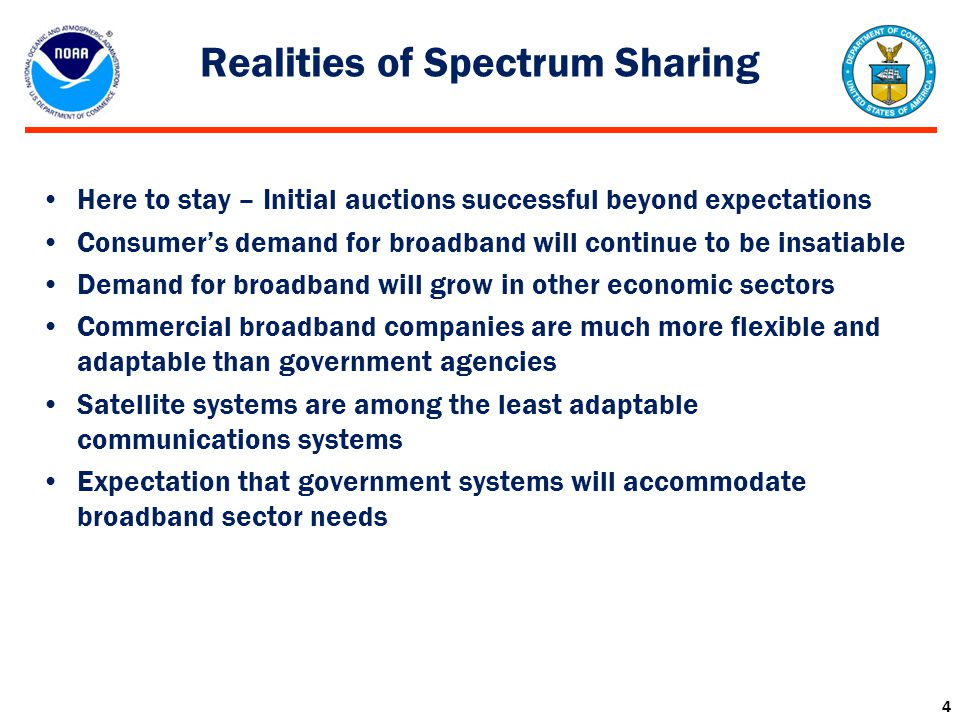 Realities of Spectrum Sharing Here to stay – Initial auctions successful beyond expectations Consumer's demand for broadband will continue to be insat