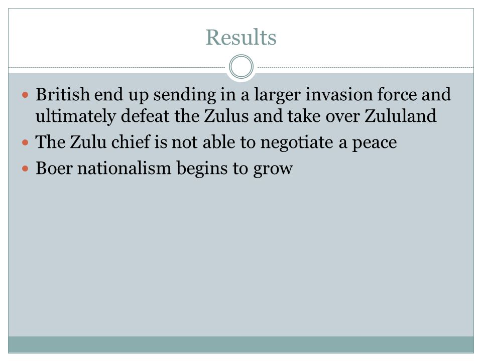 Results British end up sending in a larger invasion force and ultimately defeat the Zulus and take over Zululand The Zulu chief is not able to negotiate a peace Boer nationalism begins to grow