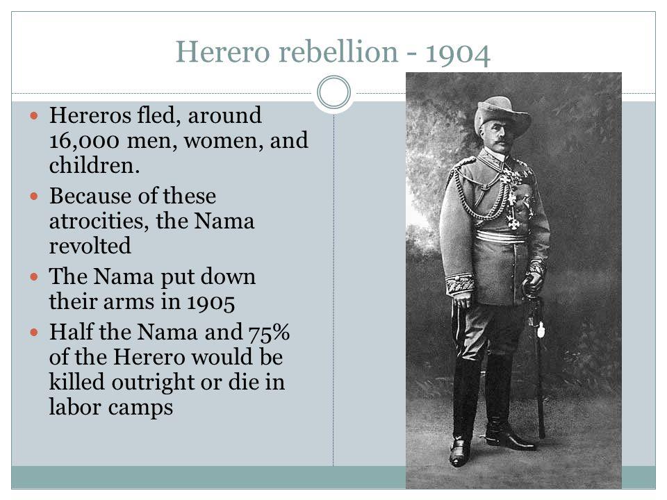 Herero rebellion - 1904 Hereros fled, around 16,000 men, women, and children.