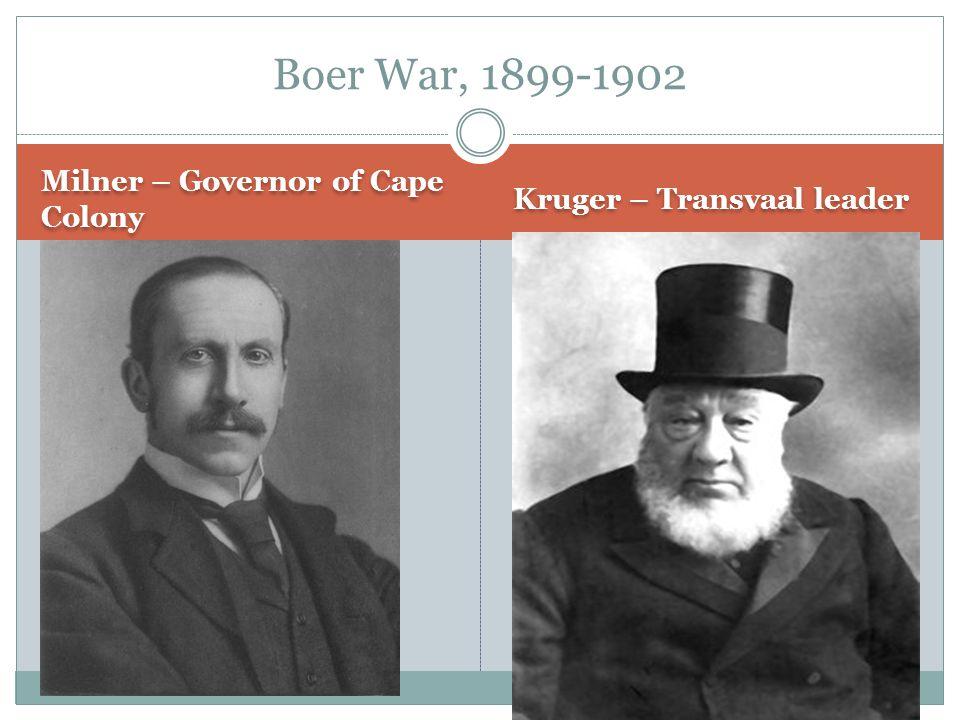 Milner – Governor of Cape Colony Kruger – Transvaal leader Boer War, 1899-1902