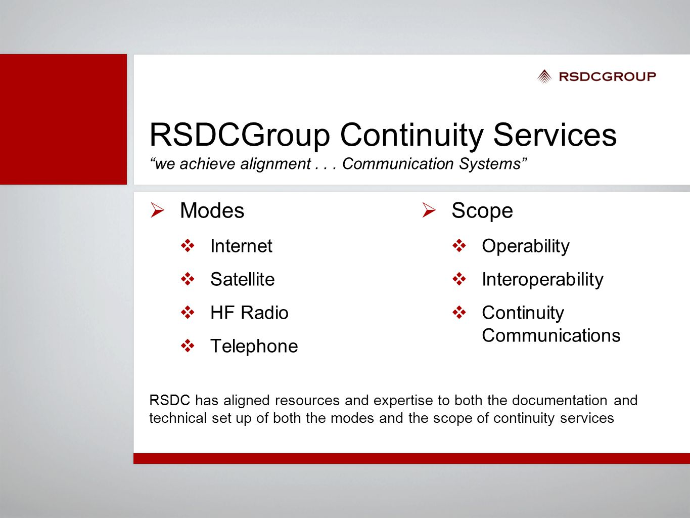 "RSDCGroup Continuity Services ""we achieve alignment... Communication Systems""  Modes  Internet  Satellite  HF Radio  Telephone  Scope  Operabil"