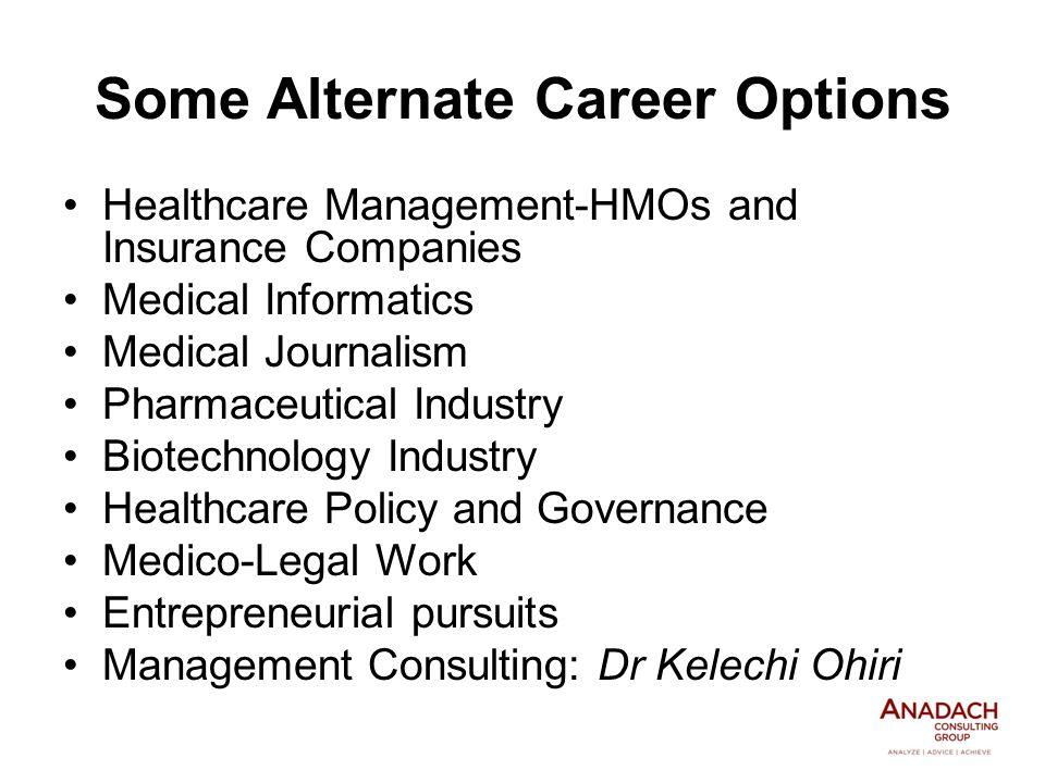 Healthcare Management-HMOs and Insurance Companies Medical Informatics Medical Journalism Pharmaceutical Industry Biotechnology Industry Healthcare Policy and Governance Medico-Legal Work Entrepreneurial pursuits Management Consulting: Dr Kelechi Ohiri