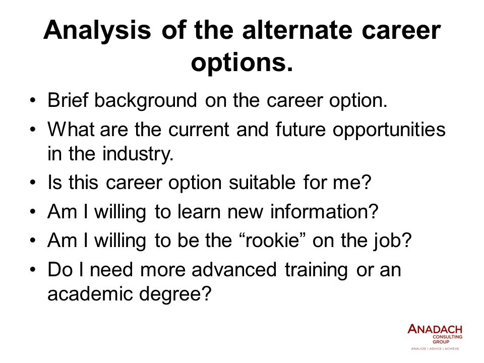 Analysis of the alternate career options. Brief background on the career option.