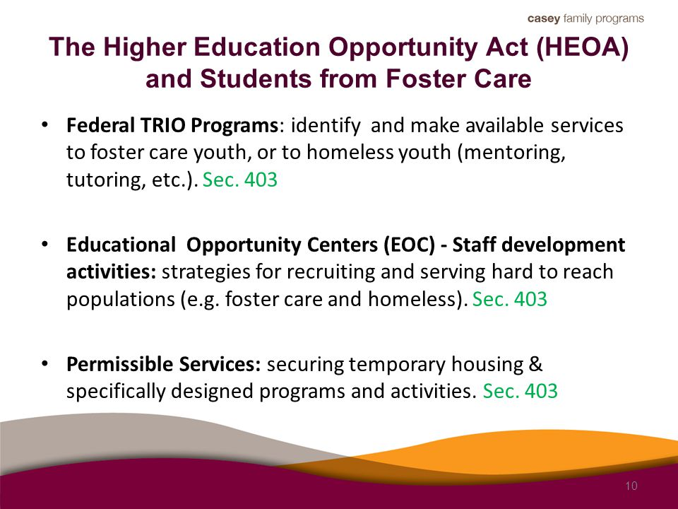 The Higher Education Opportunity Act (HEOA) and Students from Foster Care Federal TRIO Programs: identify and make available services to foster care youth, or to homeless youth (mentoring, tutoring, etc.).