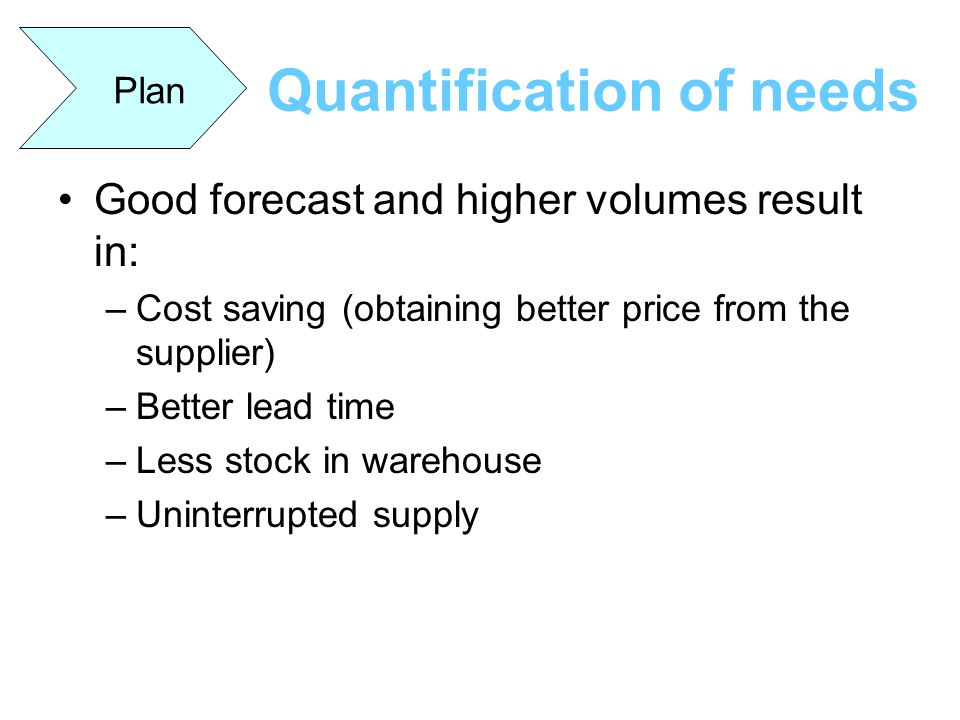 Quantification of needs Good forecast and higher volumes result in: –Cost saving (obtaining better price from the supplier) –Better lead time –Less st